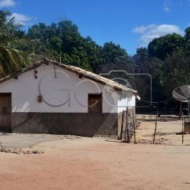Casa com antena parabólica em área rural